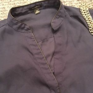 Ann Taylor Tops - Ann Taylor Leather Trim Blouse in Navy